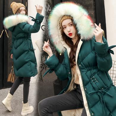 熤笙靘 2019冬季新款棉衣女中长款韩版羽绒棉服女装大毛领加厚外套    YH118