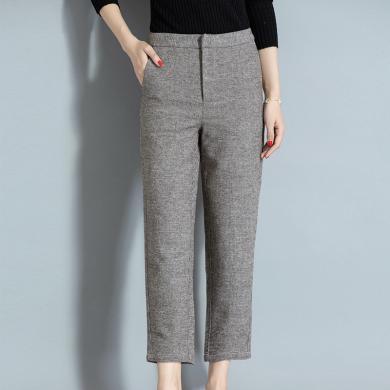 酷比兔 精纺羊毛针织休闲裤女长裤秋冬新款显瘦铅笔裤    97826