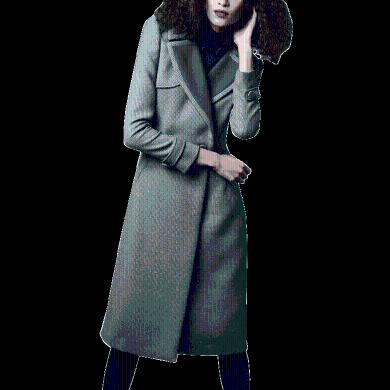 設計感小眾過膝毛呢外套女2019秋冬新款流行修身千鳥格呢子大衣潮