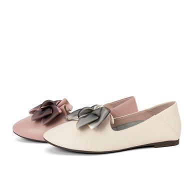 百田森商場同款平底軟皮單鞋女2020春季新款小香風真皮蝴蝶結低跟甜美風PYQ82501