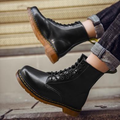 OKKO2019馬丁靴男鞋子冬季加絨保暖情侶內增高皮面防水機車大碼高幫冬靴子棉鞋8859