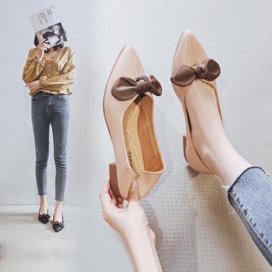 阿么女鞋2019春秋新款時尚蝴蝶結溫柔些舒適軟底低跟淺口單鞋女