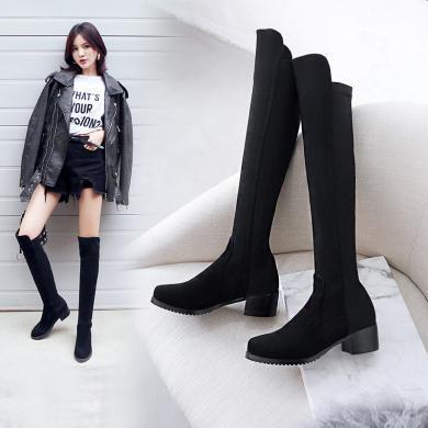 阿么长靴弹力靴过膝靴子女2019秋冬新款瘦瘦平底小个子长筒靴黑色A661
