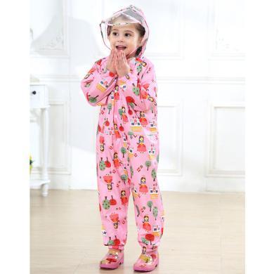 ocsco 兒童連體雨衣新款女童薄款連帽雨披男童寶寶連體印花雨衣