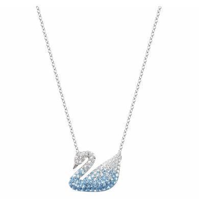 【支持購物卡】Swarovski施華洛世奇 ICONIC SWAN女士天鵝鎖骨項鏈 大號 2*1.5 藍色漸變5512095