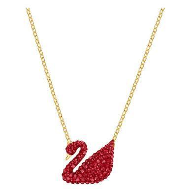 【支持購物卡】Swarovski施華洛世奇 【送女友禮物】ICONIC SWAN女士天鵝鎖骨項鏈 大號 紅/金5465400