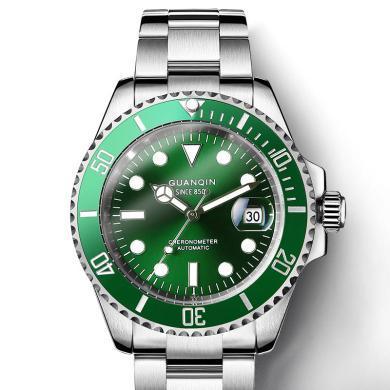 正品冠琴男士手表 全自动机械表 绿色水鬼精钢防水商务潮流夜光男表