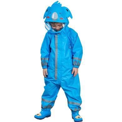 謎子 男童連體雨衣新款兒童輕薄連帽雨披女童加長帽檐寬松雨衣
