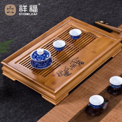 祥福 龍馬精神竹制功夫儲水茶盤現代簡約 日式家用長方形竹子塑料托盤客廳