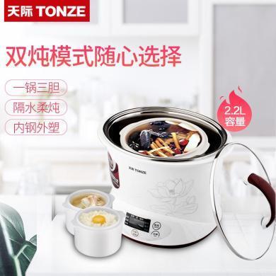 天際(TONZE)陶瓷隔水電燉鍋煲湯煮粥電燉盅預約定時  DGD22-22EG