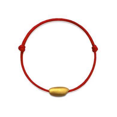 Cerana足金黄金手链红绳转运珠手链生肖鼠年有米