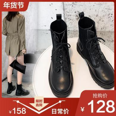 阿么马丁靴女针织2019秋冬款英伦风帅气增高小个子显瘦厚底短靴潮