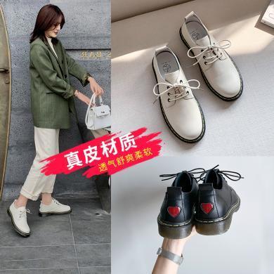 阿么2020年春季新款真皮小皮鞋女英伦学院风百搭复古平底休闲单鞋