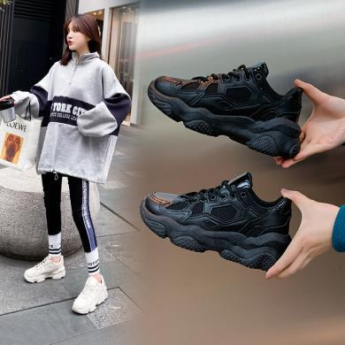 阿么老爹鞋女gt2020春季新款超火全黑色運動女鞋潮輕便時尚休閑鞋