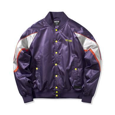 李寧棉夾克男士2020新款BADFIVE籃球系列上衣立領寬松男裝運動服AJMQ003