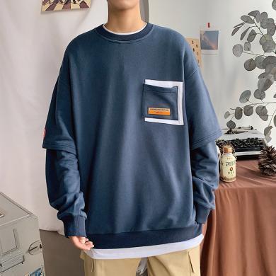 庫依娜男裝2020新款秋季假兩件衛衣男圓領套頭嘻哈寬松休閑長袖上衣外套男潮ZX011