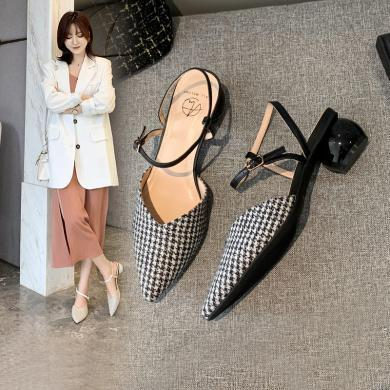 阿么女2020新款高跟鞋女粗跟仙女百搭配裙子的鞋子ins潮女鞋