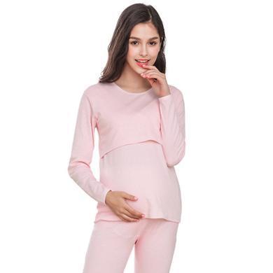 妃孕宝 哺乳上衣女春季新款产后单件内穿喂奶衣长袖月子服保暖睡衣