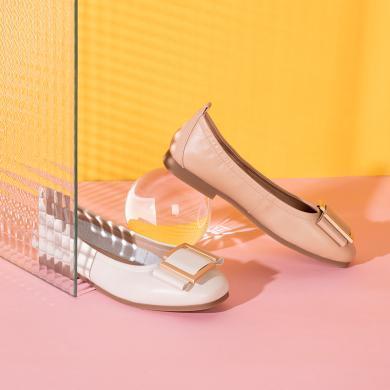 百田森低跟單鞋女2020春季新款方扣圓頭平跟真皮休閑船鞋一腳蹬PYQ20007