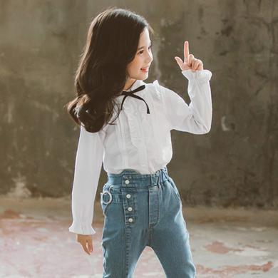 謎子 女童蝴蝶結襯衫春裝新款童裝荷葉邊襯衣中大童花邊上衣