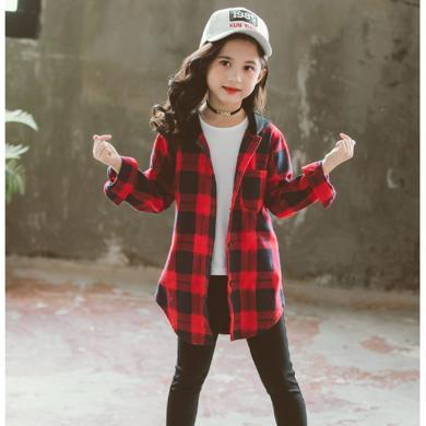 謎子 女童格子襯衫春季新款童裝中長款襯衣中大童連帽上衣潮
