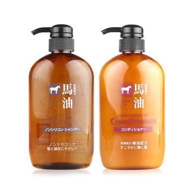 【支持購物卡】日本 熊野油脂 HorseOil 洗護套裝 洗發水600ml+護發素600ml/套裝