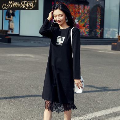 蘇醒的樂園黑色連衣裙女春秋季2020新款長袖韓版氣質成熟風淑女蕾絲圓領裙子SXL2O017