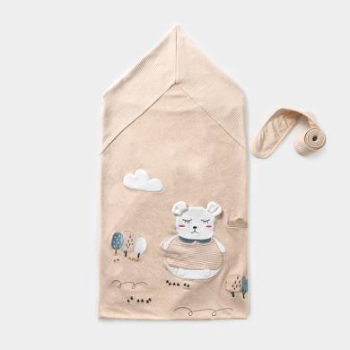 威尔贝鲁新生儿包被婴儿春秋初生产房防惊跳抱被纯棉外出四季通用彩棉小熊抱被