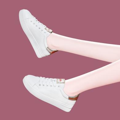 百年紀念   圓頭小白鞋休閑鞋平底低幫鞋系帶小白鞋休閑鞋拼色女鞋防小白鞋休閑鞋水臺女鞋子bn2131