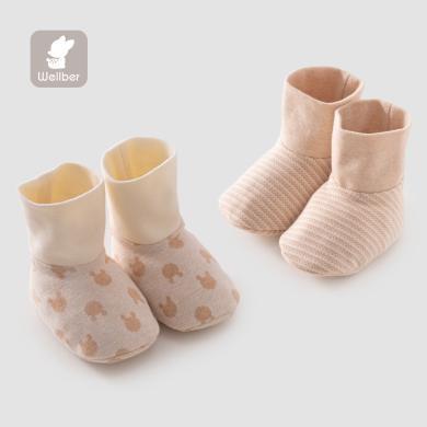 威尔贝鲁婴儿脚套纯棉保暖宝宝学步脚套新生儿护脚包脚套