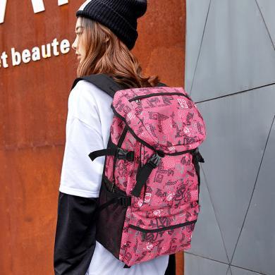 香炫兒(XIASUAR)經典款大容量雙肩背包旅行背包女士登山包旅行徒步被包粉色旅行包