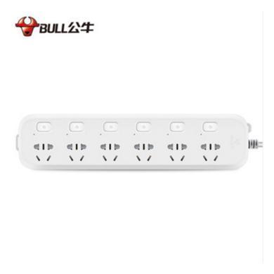 公牛 插座電源接線板插排插線板插板帶線6孔分控1.8米 B5063 白色 1.8m