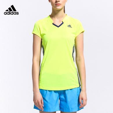 阿迪達斯 Adidas 短袖T恤女夏季運動polo衫休閑羽毛球服S90087
