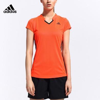 阿迪達斯 Adidas 短袖T恤女夏季運動polo衫休閑羽毛球服S90088