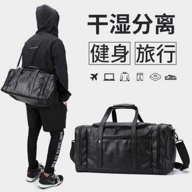 香炫兒(XIASUAR)經典款男士大容量旅行包PU男士健身包單肩斜跨包經典黑 3054