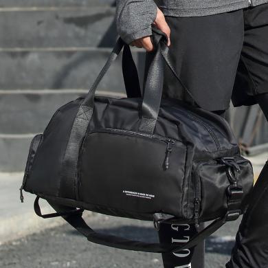 香炫兒(XIASUAR)手提短途旅行包單肩斜跨包男士大容量斜挎運動包訓練背包房干濕分離健身包0421