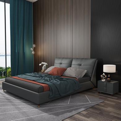 HJMM北歐皮床現代簡約真皮床大氣主臥雙人床1.5/1.8m大床小戶型輕奢婚床