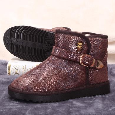 100KM猩猩猴 雪地靴女鞋羊毛一體學生百搭平底加厚防滑圓頭棉鞋冬鞋潮