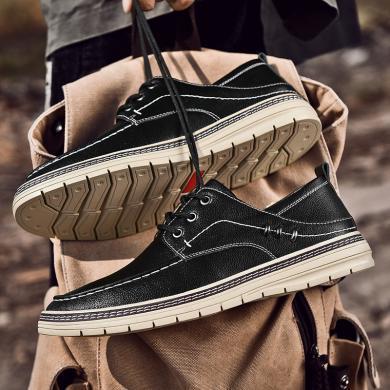 卡帝乐鳄鱼男鞋2020新款时尚休闲皮鞋男单鞋懒人鞋潮流板鞋系带低帮男鞋5161