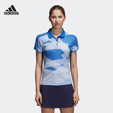 阿迪達斯 Adidas 短袖T恤女夏季運動polo衫翻領休閑羽毛球服CF4842