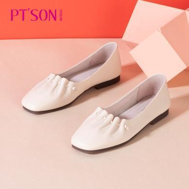 百田森2020春商場同款奶奶鞋女低跟舒適真皮復古單鞋花邊PYQ82506