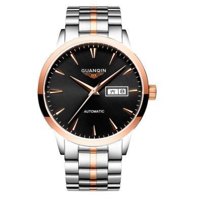 冠琴手表男機械表全自動精鋼帶時尚潮流簡約商務防水男士手表