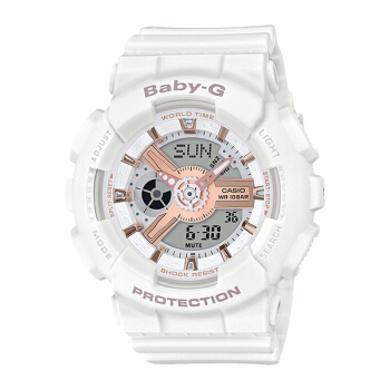 【支持購物卡】CASIO卡西歐女表G-SHOCK/BABY-G運動手表女防摔防水抖音網紅同款透明表盤粉紅簡約腕表方 BA-110RG-7A