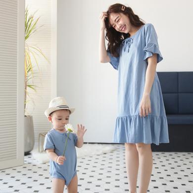 妃孕宝 亲子装夏季新款孕妇连衣裙女辣妈哺乳裙宝宝连体哈衣