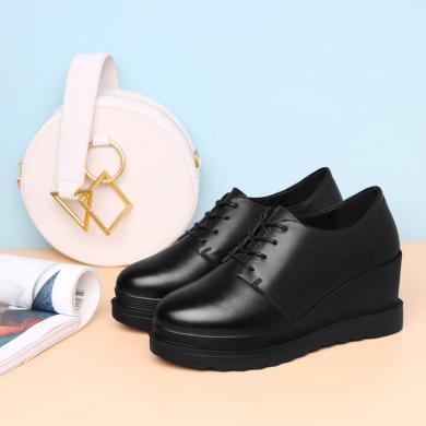 古奇天伦 春季新款圆头坡跟单鞋系带纯色鞋子女防水台女鞋子 9795