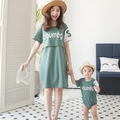 妃孕宝 亲子装夏装新款孕妇连衣裙女辣妈哺乳裙宝宝连体哈衣