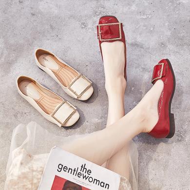 MIJI浅口单鞋女平底百搭仙气单鞋平跟方头码豆豆鞋春季新款女鞋LP-707-3