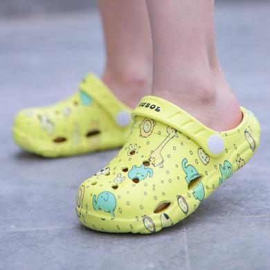 美駱世家五色小童中童3D印花洞洞涼拖鞋小熊底男女童鞋沙灘鞋花園鞋HA-0912