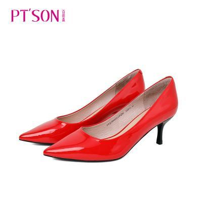 百田森PYQ19041新款職業女性淺口單鞋尖頭高跟細跟羊皮純色女鞋