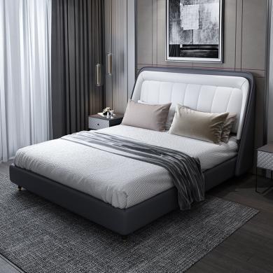 HJMM后現代真皮軟床意式輕奢1.8米1.5m雙人床婚床網紅床